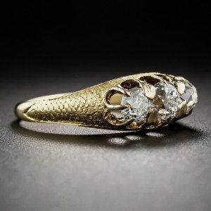 Mid Victorian vintage organic gold diamond trilogy ring