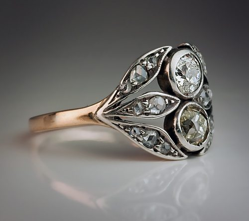 1890 late Victorian vintage rose gold diamond ring