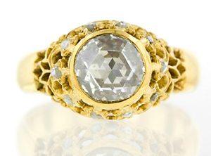 Victorian Rose Cut Diamond vintage gold Ring