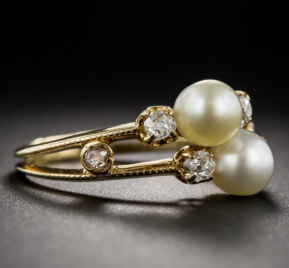delicate victorian pearl and diamond vintage ring