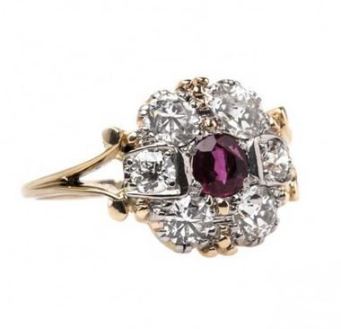 Victorian Vintage trilogy Ruby engagement ring