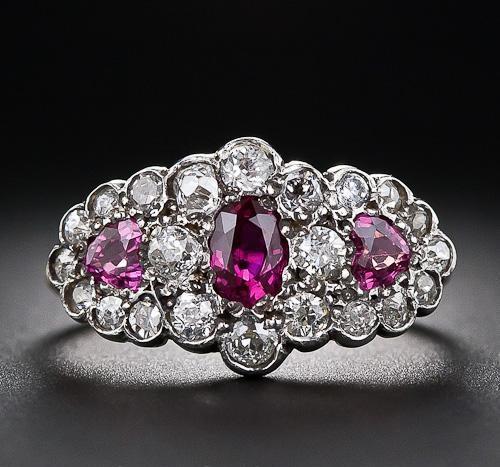 late victorian halo trilogy vintage engagement ring