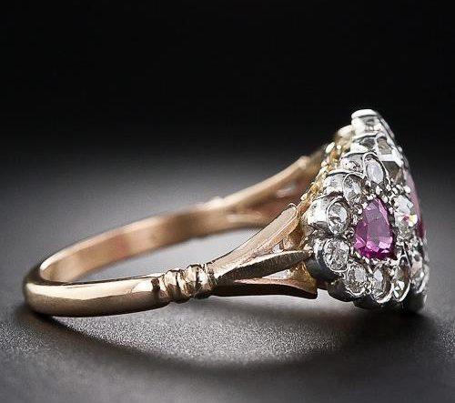 Victorian vintage rose gold custom halo engagement ring