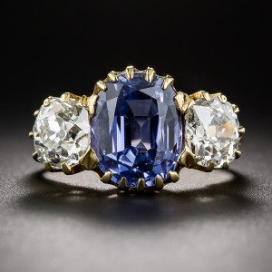 late victorian Sapphire and diamond organic trilogy ring