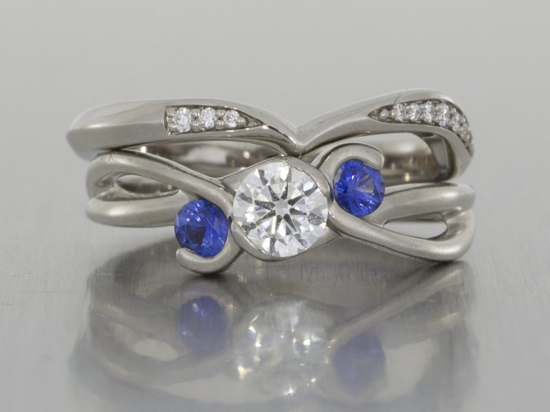 Bespoke Diamond And Sapphire Trilogy Engagement Ring