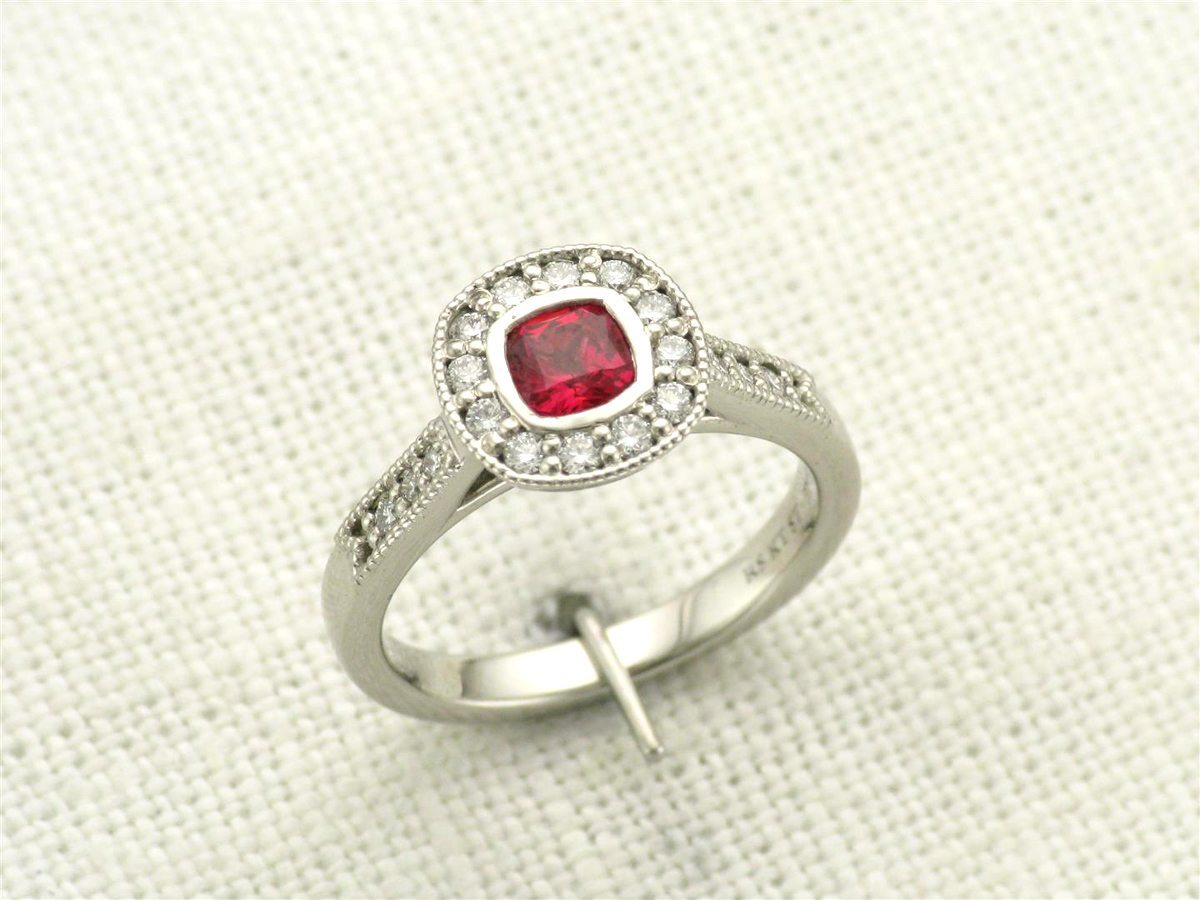 Vintage style halo ruby engagement ring