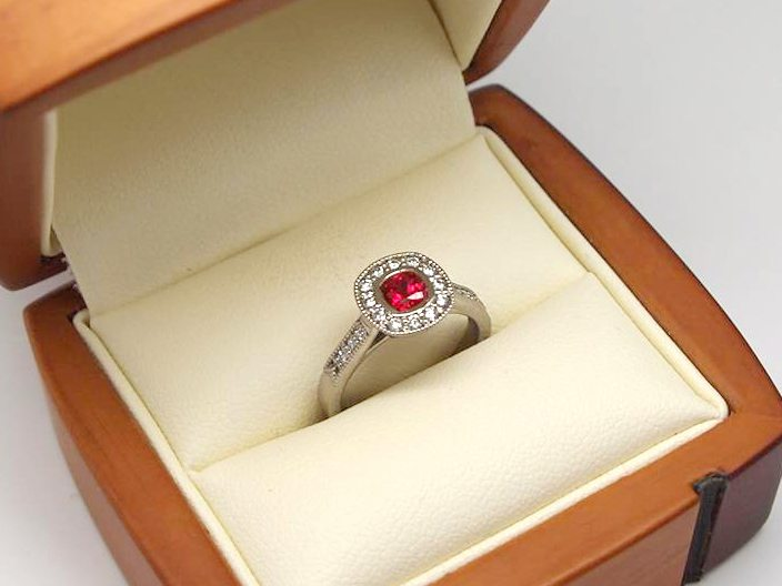 Vintage halo ruby engagement ring