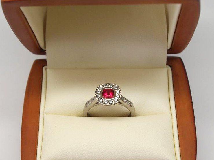 Vintage style bespoke halo ruby ring