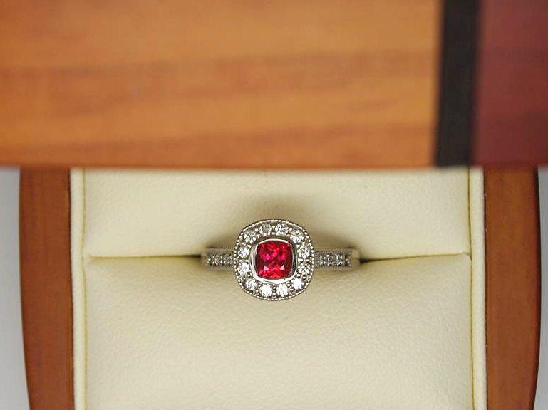Halo diamond ruby vintage engagement ring