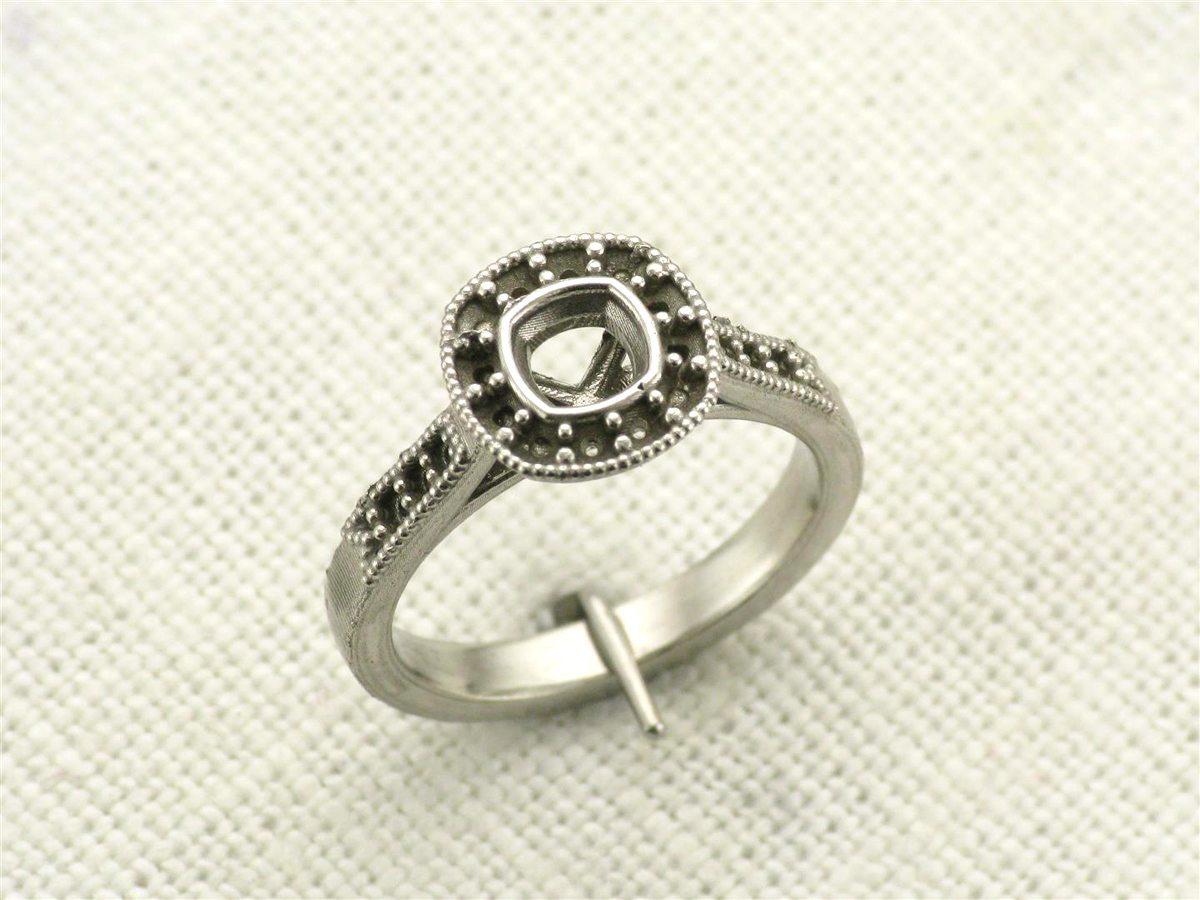 Vintage bespoke halo ring raw casting