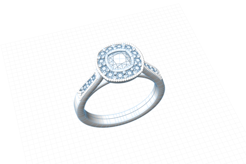 Vintage style halo engagement ring CAD model