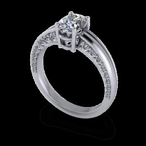 Diamond encrused oval engagement ring