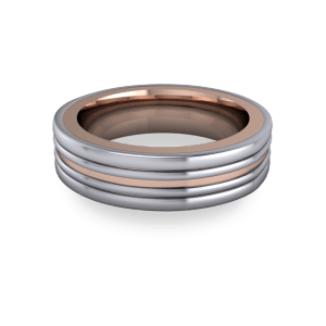 """<a href=""""/book-now-bespoke-ring?context=Mixed metal grooved band""""></a>Mixed metal grooved band"""