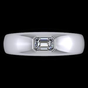 Single stone rub over emerlad diamdond ring