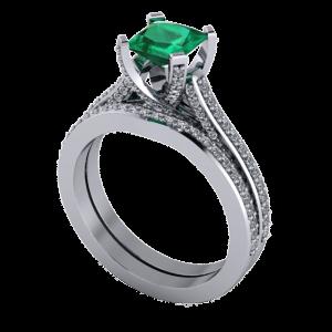 Diamond encrusted wedding band set