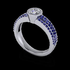 Sapphire pave band with round diamond