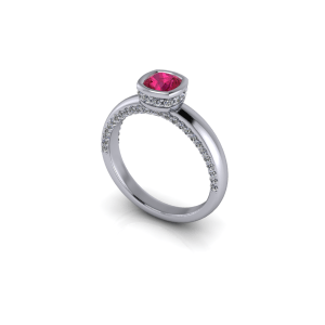"""<a href=""""/book-now-bespoke-ring?context=Ruby and diamond bezel set ring""""></a>Ruby and diamond bezel set ring"""