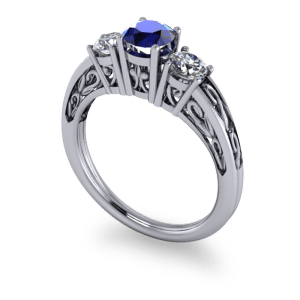 """<a href=""""/book-now-bespoke-ring?context=Sapphire filigree 3 stone ring""""></a>Sapphire filigree 3 stone ring"""