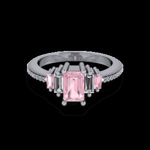 Radiant Pink morganite art deco engagement ring