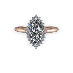 """<a href=""""/book-now-bespoke-ring?context=Marquise diamond vintage halo rose gold engagement ring""""></a>Marquise diamond vintage halo rose gold engagement ring"""
