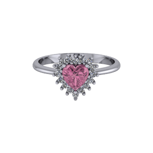 """<a href=""""/book-now-bespoke-ring?context=Pink heart halo style tapered vintage engagement ring""""></a>Pink heart halo style tapered vintage engagement ring"""