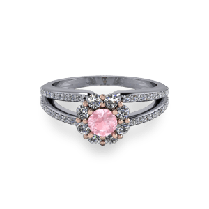 """<a href=""""/book-now-bespoke-ring?context=Pink morganite plit shank halo engagement diamond ring""""></a>Pink morganite plit shank halo engagement diamond ring"""