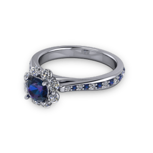 """<a href=""""/book-now-bespoke-ring?context=Alexandrite diamond halo tapered vintage cathedral ring""""></a>Alexandrite diamond halo tapered vintage cathedral ring"""