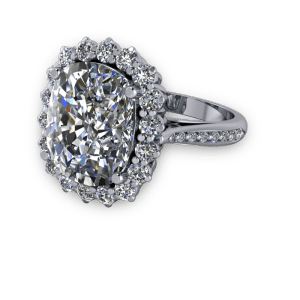 """<a href=""""/book-now-bespoke-ring?context=Large cushion diamond halo traditional engagement ring""""></a>Large cushion diamond halo traditional engagement ring"""