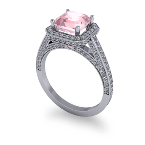 "<a href=""/book-now-bespoke-ring?context=	Pink Ascher diamond halo luxury platinum engagement ring	"">	</a>	Pink Ascher diamond halo luxury platinum engagement ring"
