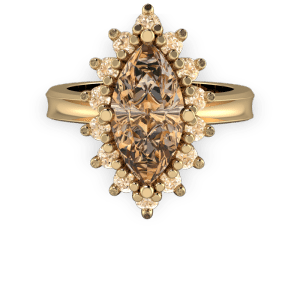 Cognac diamond marquis halo gold vintage engagement ring