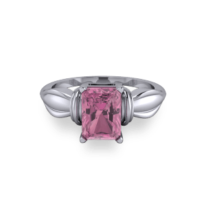 Bow shaped pink tourmaline radiant platinum engagement ring