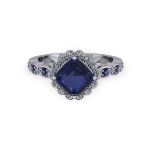 """<a href=""""/book-now-bespoke-ring?context=Vintage radiant cut sapphire and diamond halo ring""""></a>Vintage radiant cut sapphire and diamond halo ring"""