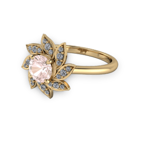 "<a href=""/book-now-bespoke-ring?context=	Gold pink and diamond flower style engagement ring	"">	</a>	Gold pink and diamond flower style engagement ring"