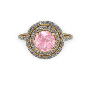 "<a href=""/book-now-bespoke-ring?context=	Double halo Gold diamond and pink engagement ring	"">	</a>	Double halo Gold diamond and pink engagement ring"
