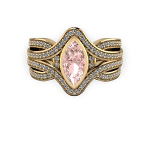 """<a href=""""/book-now-bespoke-ring?context=Gold Diamond and morganite marquise bold engagement ring""""></a>Gold Diamond and morganite marquise bold engagement ring"""