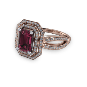 """<a href=""""/book-now-bespoke-ring?context=Rose gold and garnet diamond double halo emerald cut ring""""></a>Rose gold and garnet diamond double halo emerald cut ring"""