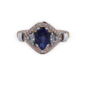 """<a href=""""/book-now-bespoke-ring?context=Rose gold and platinum Pear sapphire vintage 3 stone engagement ring""""></a>Rose gold and platinum Pear sapphire vintage 3 stone engagement ring"""