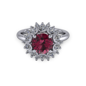 """<a href=""""/book-now-bespoke-ring?context=White gold Ruby and diamond unique bezel halo engagement ring""""></a>White gold Ruby and diamond unique bezel halo engagement ring"""