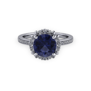 """<a href=""""/book-now-bespoke-ring?context=Vintage white gold sapphire and diamond bespoke halo engagement ring""""></a>Vintage white gold sapphire and diamond bespoke halo engagement ring"""