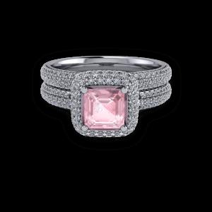Platinum Pink ascher and diamond pave halo ring set