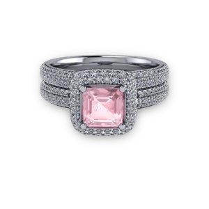 "<a href=""/book-now-bespoke-ring?context=	Platinum Pink ascher and diamond pave halo ring set	"">	</a>	Platinum Pink ascher and diamond pave halo ring set"