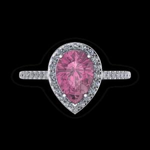 Pink tourmaline pear diamond and platinum halo birthstone engagement ring
