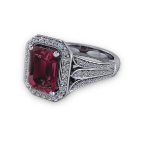 Radiant cut garnet and diamond halo split floral shank commitment ring