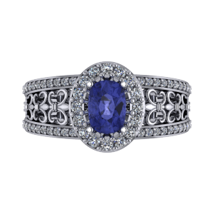 """<a href=""""/book-now-bespoke-ring?context=Oval tanzanite filligree commitment platinum ring""""></a>Oval tanzanite filligree commitment platinum ring"""