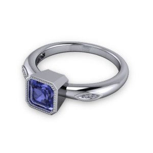 "<a href=""/book-now-bespoke-ring?context=	Tanzanite Ascher cut engagement ring	"">	</a>	Tanzanite Ascher cut engagement ring"