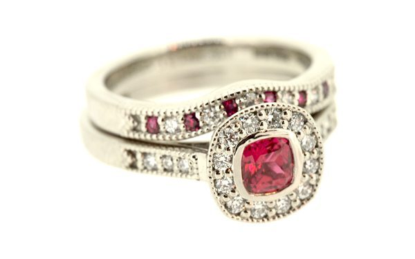 His & Hers Matching Vintage Ruby Engagement ring set