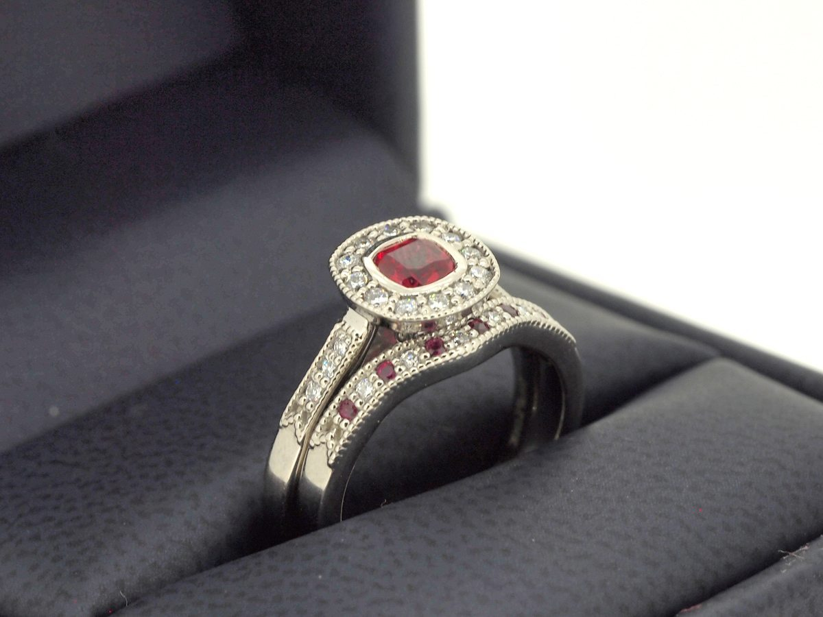His hers matching vintage ruby engagement ring set for Ruby wedding band rings