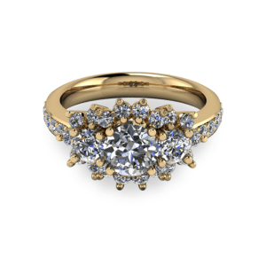 """<a href=""""/book-now-bespoke-ring?context=Gold trilogy halo ring""""></a>Gold trilogy halo ring"""