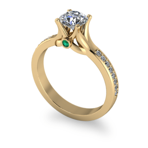 """<a href=""""/book-now-bespoke-ring?context=Sculptured yellow gold shank with emerald peak stone""""></a>Sculptured yellow gold shank with emerald peak stone"""