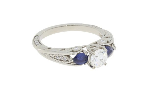 Unique Organic Sculpted Diamond and Sapphire Engagement Ring